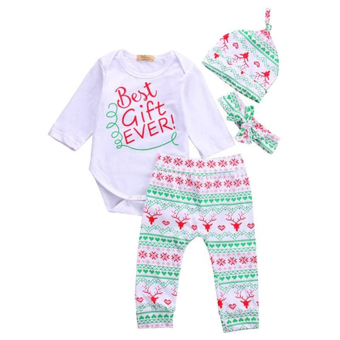 Newborn Baby Girls Clothes Set Autumn Long Sleeve Toddler Cute Print Bodysuits +Leggings +Headband H Outfits Clothing Suit
