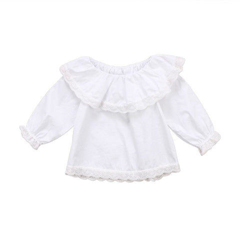 Newborn Baby Girls T-Shirts Lace Long Sleeve Off Shoulder Cute Top Princess T-shirt Clothes Outfits 0-24M