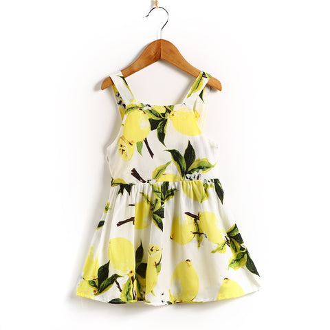 Newborn Baby Kid Girl Sleeveless Sundress Dress Pageant Party Clothes Lemon Dresses