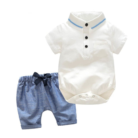Newborn Boy Clothing Set Cotton shorts Romper + Shorts 3-24M Baby Suit Butterfly Bow Tie Infant Romper summer Kids Outwear