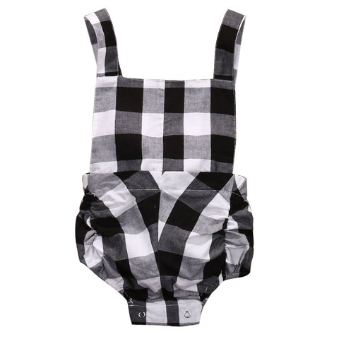 Newborn Cute Baby Girls Clothes Sleeveless Lovely Plaid Romper Sunsuit Outfits Cotton blend
