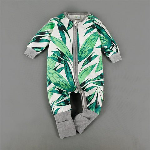 Newborn Infant Baby Boys Clothing One-Piece Coverall Rompers Colorful Green Leaf Cotton Autumn Romper Jumpsuits Kids Clothes