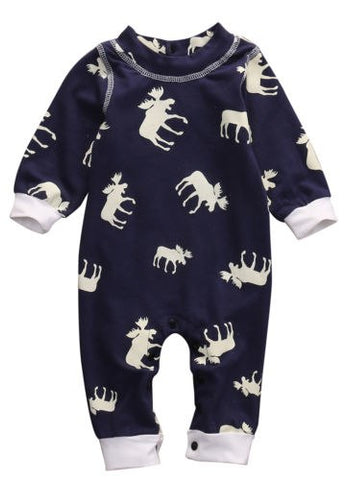 Newborn Infant Baby Girl Boy Moose Casual Long Sleeve Romper One-pieces Clohtes