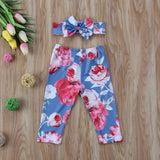 Newborn Infant Baby Girls Floral Long Pants Leggings Headband 2pcs Outfit Set