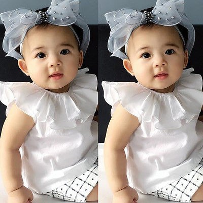 Newborn Infant Baby Kids Girls White T Shirt Casual Ruffle Collar Summer Boho Items Tops for Girls 0-3Y
