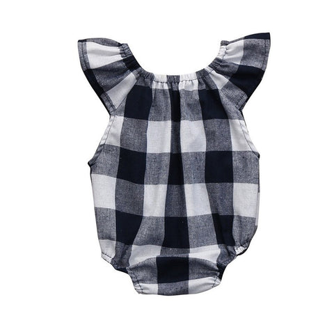 Newborn Infant Kids Baby Girl Bodysuit Age 0-18M Cute Girls Toddler Kids Clothing Sleeveless Plaid Bebes Outfit Clothing #YY