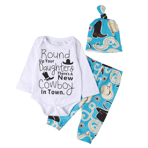 Newborn Infant Toddler Baby Boys Girls Clothes Set Romper Tops Pants Hat 3pcs Long Sleeve Cotton Blue Outfits Set Clothing