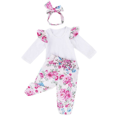 Newborn Kids Baby Girl Sets Long Sleeves Lace Ruffles T-shirt+Floral Print Pants with Headband 3Pcs Outfits Cute Girls Set