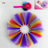 Newborn Photography Props Baby Infant Rainbow Skirt and Flower Headband Bebe Girl Fluffy Tulle Skirt Accessories