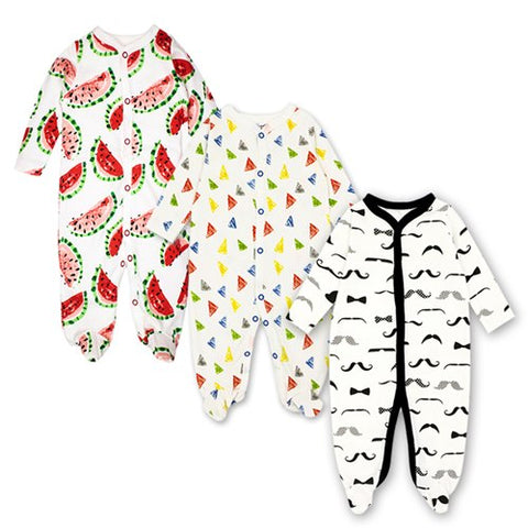 Baby Bodysuits 5-Pack Long Sleeve Rompers Boys Girls Sleepsuit Cotton Infant Cartoon Pajama 0-3 Months