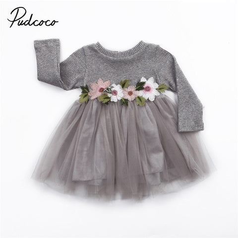 Newborn Toddler Baby Girls Clothes Baby Girls Dress Long Sleeve Flower Dress Princess Party Prom Tulle Wedding Dresses Age 0-3T