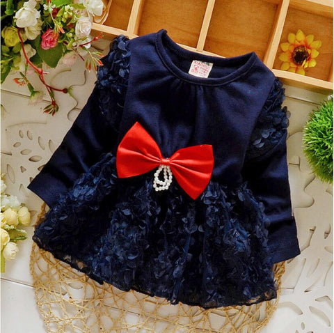 Newborn baby girls Sweet princess dress long sleeve Infant's clothes Big bowknot lace babies dresses girl Toddlers Clothing