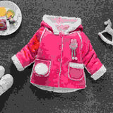 Newborn baby girls autumn winter outerwear coats toddler warm fur hoodies infant girls thick Velvet outfits clothes