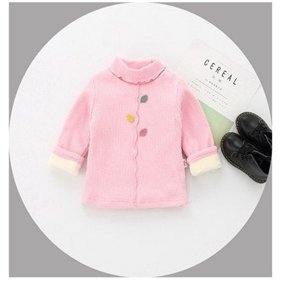 Newborn children's clothing winter primer shirt Leisure little girl plus velvet pullovers infant baby white ride red shirt 609