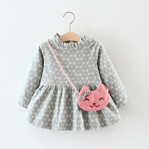 Newborn infant Baby Girl Print Winter Warm Long Sleeve thicker flower blouse princess Dress+Bag Outfit Clothes costume cute wear