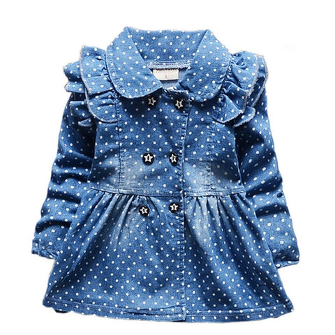 Newest Spring Baby Girls Dress Full Length Denim Infant Clothing High Quality Jeans Dress Baby Girl For Newborn Clothing Vestido