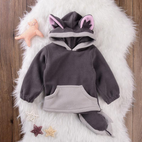 Novelty Baby Kids Toddlers Cute Fox long sleeve Hoodie Tops Clothes cotton Fleece Coat With Tail