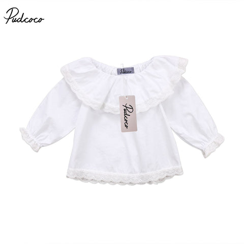Newborn Baby Girls Lace Blouse Long Sleeve Lotus Leaf Collar Tops Solid Color Clothes 0-24M