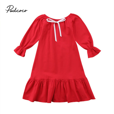 Newest Hot Kids Baby Girls Princess Ruffle Cotton Dress Longuette Clothes Nightgown Red White Pop Dresses 2-7Y