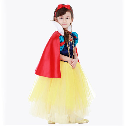 PaMaBa Cute Girls Princess Snow White Dress up Children Classic Snow White Halloween Cosplay Costume Outfit Kids Party Ball Gown