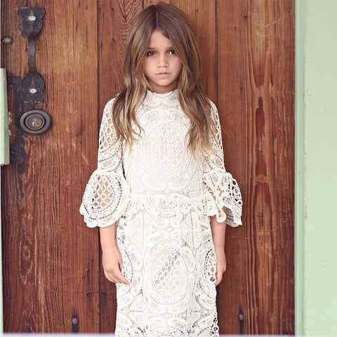 7488207ff2 PaMaBa Elegant Baby Girls Lace Summer Party Dress 3 4 Flare Sleeve White Christening  Robe Flower Girls Dress-up Kids Clothing