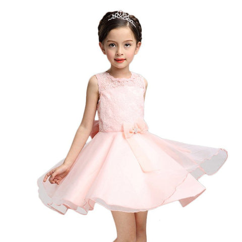 PaMaBa Girls Lace Princess Dress in White/Pink Back Zipper Summer Party Tutu Dresses for Kids Above Knee A-Line Filles Vestidos