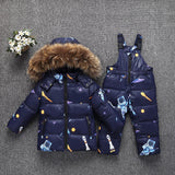 parka real Fur hooded boy baby girl duck down jacket warm kids snow suit children co snowsuit winter clothes girls clothing