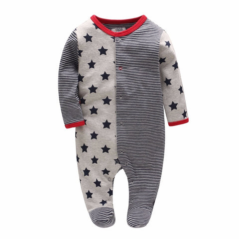 Picturesque Childhood Official Store 2-1 Newborn Clothes 2018 New Born Boy Footies Cotton Long Sleeve 0-12M
