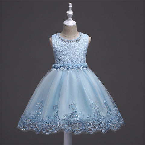 Poupl Children Fancy White Lace Princess Dress Children Party Beaded Wedding Dresses Summer Kids Girl Sleeveless Flower Dress