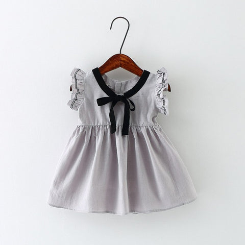Preppy Summer Baby Girl Dress with Bow Ruffle Sleeve Infant Dresses Cotton Toddler Baby Girl Clothes 4 Colors