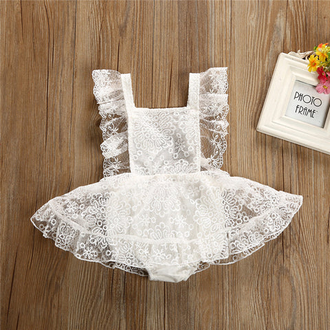 Pretty Baby Girls Lace Floral Romper Dress 2018 Summer Newborn Baby Girl Strap Backless Sleeveless Tulle Tutu Romper Dress 0-24M