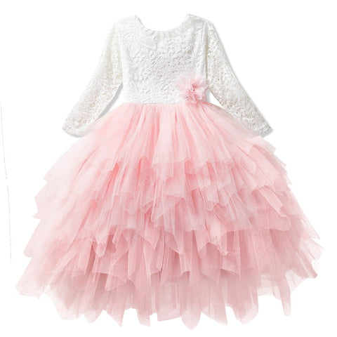 Pretty Girls Long Dresses Kids Pageant Clothes Children Tutu Layered Dress Infant Girl Irregul Ball Gowns For 3 4 5 6 7 8 Yrs