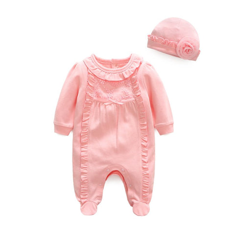 Princess Baby Girl Clothes Flowers Newborn Jumpsuits & Hats Clothing Sets Lace Girls Footies for 2018 Spring Baby Body suits