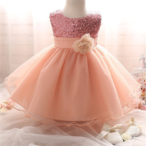 Princess Girl O-neck Sleeveless Sequined Floral Ball Gown Party Dresses One Piece baby girl Dress vestido de bebes menina