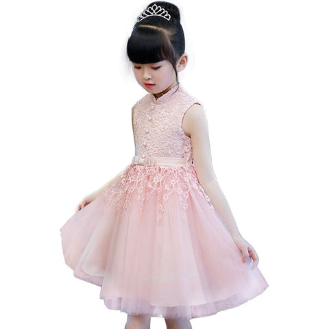 Princess Lace Flower Girl Dresses 2018 Tulle Girls Pageant Dresses First Communion Dresses Kids Evening Gowns White/Pink/Red