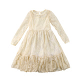 Princess Toddler Kids Girl Lace Bow Dress Wedding Party Formal Dresses Long Sleeve White Pink Beige Sweet Pretty Long Dress
