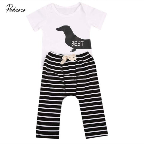 2018 Cute Infant Baby Grils Boy Clothes Set BEST FRIENDS Animal Bodysuit Tops+Striped Pants 2pcs Outfits Clothes 0-24M