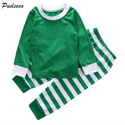 2pcs Kids Baby Christmas Clothes Set Children Boy Girls Striped Christmas Autumn Winter Clothing Set Red Green 1-5 Years