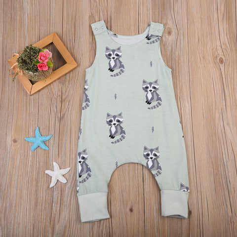 Cute Newborn Baby Boys Girls Racoon Romper Summer Sleeveless Clothes Jumpsuit Outfits Clothing