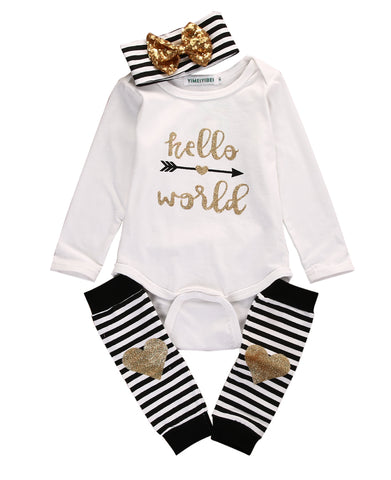 Newborn Baby Boy Girls Hello World Bow Romper Socks Outfits Set Clothes Long Sleeveless Striped New Hot Casual