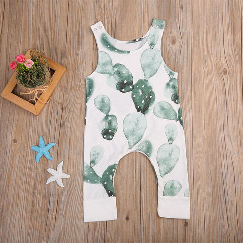Newborn Infant Baby Girl Boy Cactus Romper Babygrow Sleeveless Summer Clothes Jumpsuit Playsuits
