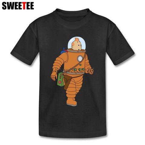 Pure Cotton Astronaut Tintin T-shirt For Girl 4T-8T Childrens The Adventure Of Tintin Tee Shirts