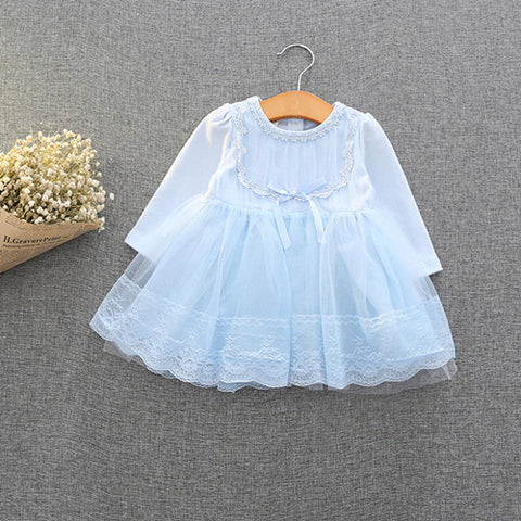 Retail-2018 spring autumn cute baby girls clothes baby infant lace dress ball gown girls birthday dress pink white blue 0-2T