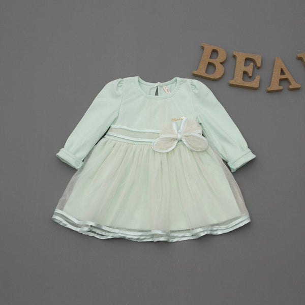 19b0fca87cc17 Retail-2018 spring bow lace dress baby girls cute baby infant lace dress  ball gown girl sundress princess dress 3 color