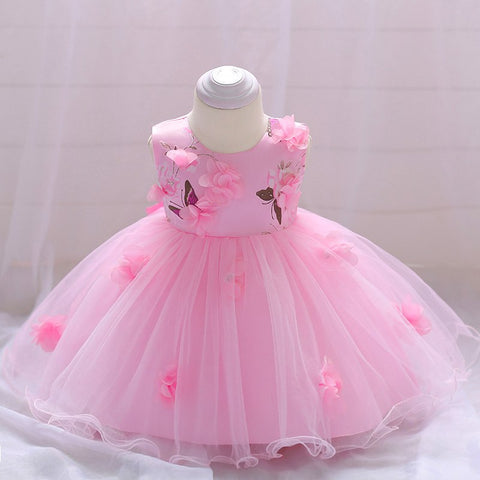 Retail Baby Girls Wedding Gown Dress Baby Girl Party Hand-stitched Flower Birthday Dress For 6-24 month L1839XZ