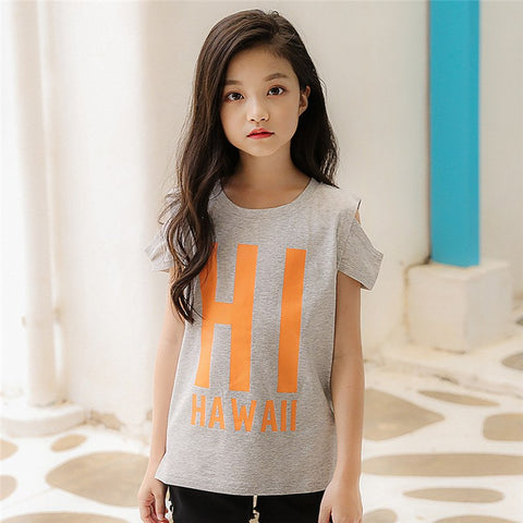 Retail Brand 2018 New Young Girls Tshirt Child Clothing Childrens Tops Summer Clothes Short Sleeve Tee Blouse Shirts 8-15YRS