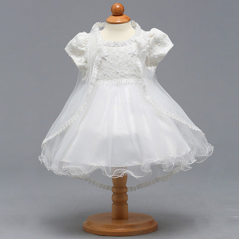 Retail High Quality Elegant Puff Sleeves Little Baby White Wedding Dress Baby Girls Floral Lace First Communion Dress BBTZ008