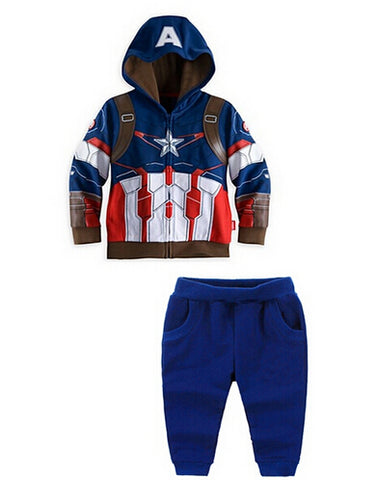 Retail New Children's the Clothing Set Baby Boys Hero Captain Boy's Hoodies Coats + Pants Kids Sport Suit Best selling!