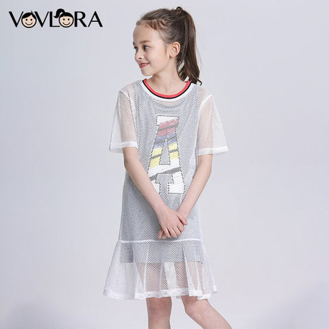 Ruffles Mesh Two Piece Girls Dress Letter A Line Tops O Neck Kids Dresses Summer 2018 Children Clothes Size 7 8 9 10 11 12 Years