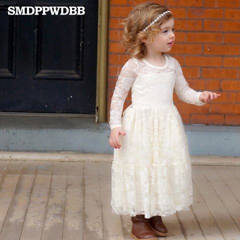 Summer New Children Clothes Girls Beautiful Lace Dress Quality White Baby Girls Dress Teenager Kids Dress for Age 4-12